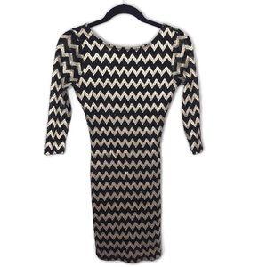 H&M • Gold & Black Long Sleeve Dress Size Small